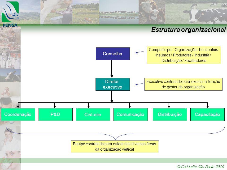 GeCad Leite São Paulo 2010 Estrutura organizacional Conselho Diretor executivo CoordenaçãoCapacitaçãoDistribuiçãoP&DComunicação CinLeite Composto por: