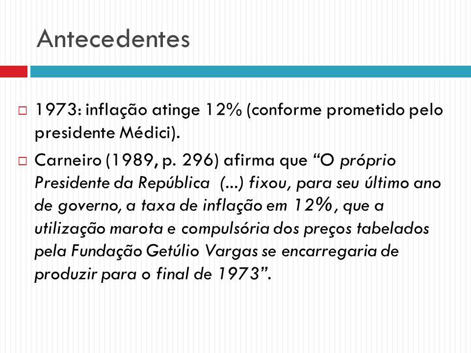 Antecedentes 1973: inflação atinge 12% (conforme prometido pelo presidente Médici). Carneiro (1989, p. 296) afirma que O próprio Presidente da Repúbli