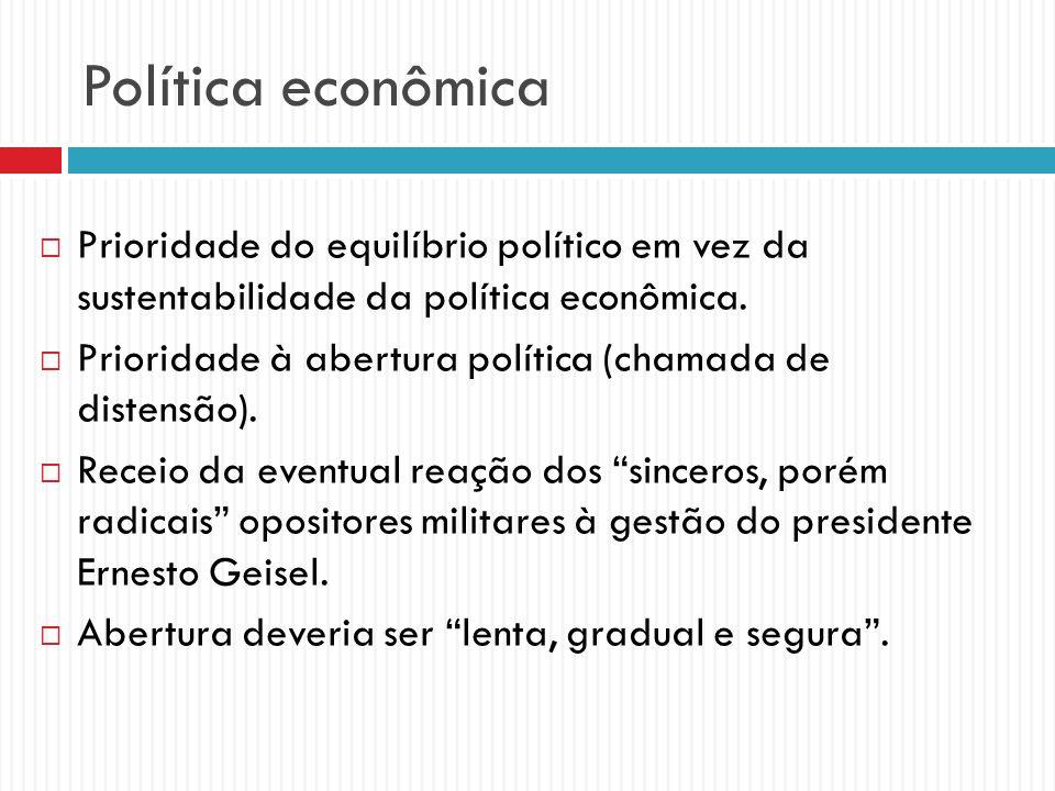 Política econômica Prioridade do equilíbrio político em vez da sustentabilidade da política econômica. Prioridade à abertura política (chamada de dist