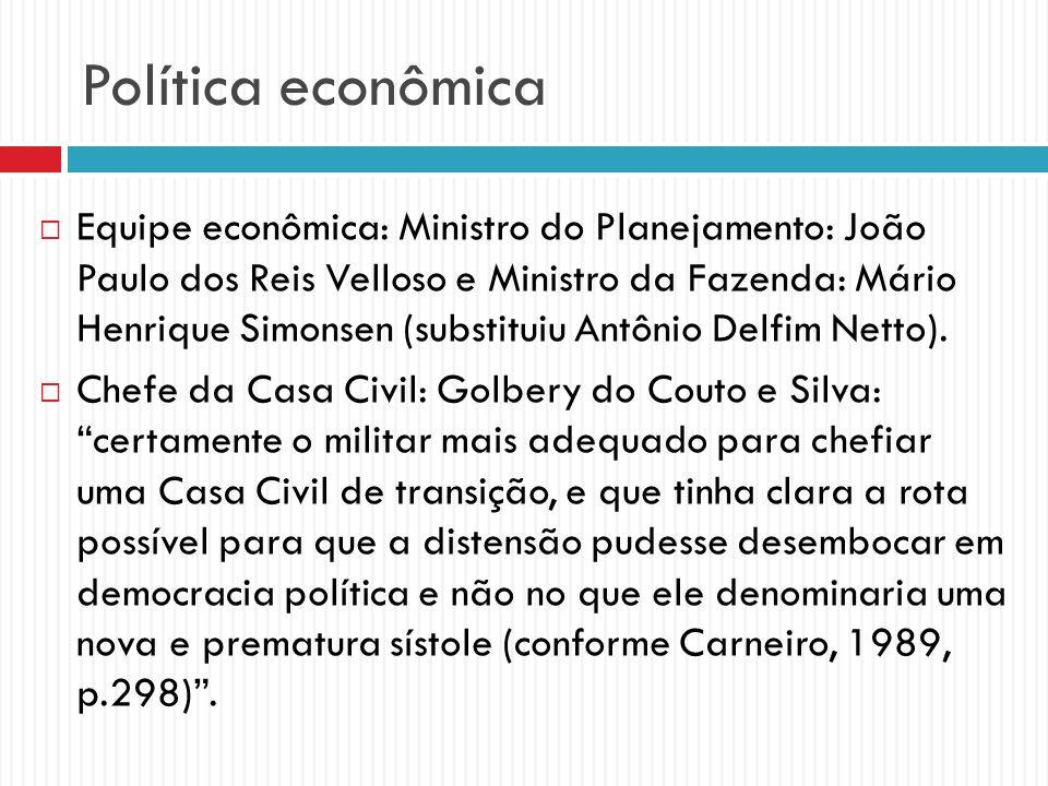Política econômica Equipe econômica: Ministro do Planejamento: João Paulo dos Reis Velloso e Ministro da Fazenda: Mário Henrique Simonsen (substituiu