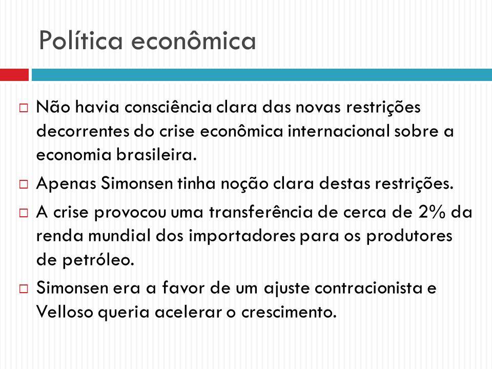 Política econômica Não havia consciência clara das novas restrições decorrentes do crise econômica internacional sobre a economia brasileira. Apenas S