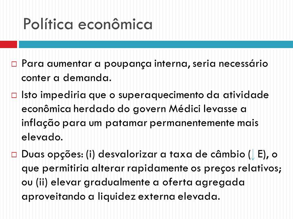 Política econômica Para aumentar a poupança interna, seria necessário conter a demanda. Isto impediria que o superaquecimento da atividade econômica h