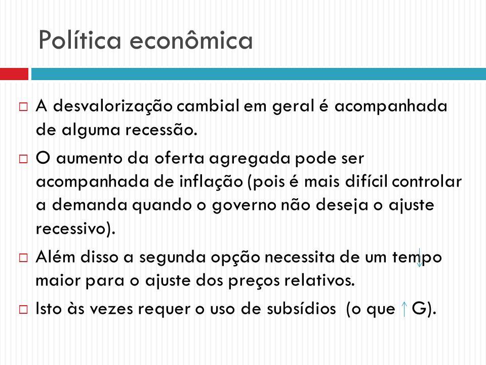 Política econômica A desvalorização cambial em geral é acompanhada de alguma recessão. O aumento da oferta agregada pode ser acompanhada de inflação (