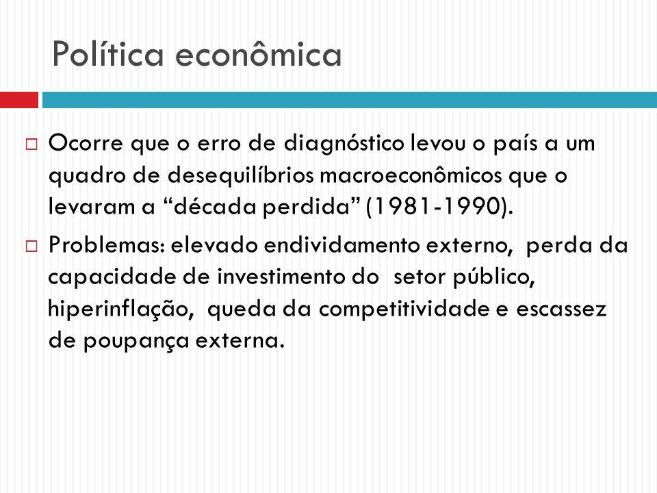 Política econômica Ocorre que o erro de diagnóstico levou o país a um quadro de desequilíbrios macroeconômicos que o levaram a década perdida (1981-19