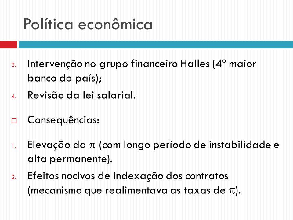 Política econômica 3. Intervenção no grupo financeiro Halles (4º maior banco do país); 4. Revisão da lei salarial. Consequências: 1. Elevação da (com