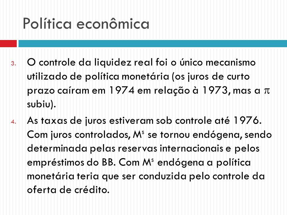 Política econômica 3. O controle da liquidez real foi o único mecanismo utilizado de política monetária (os juros de curto prazo caíram em 1974 em rel