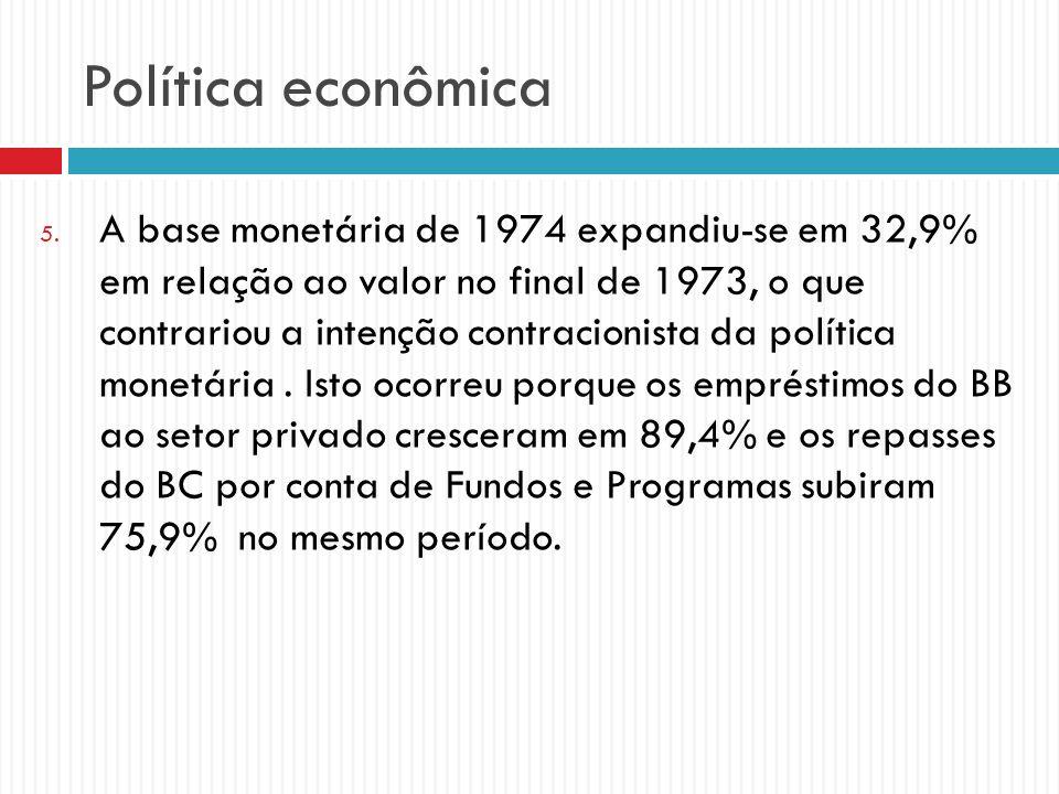 Política econômica 5. A base monetária de 1974 expandiu-se em 32,9% em relação ao valor no final de 1973, o que contrariou a intenção contracionista d