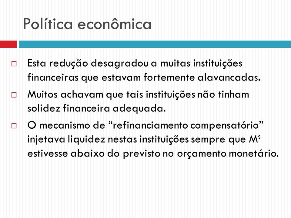 Política econômica Esta redução desagradou a muitas instituições financeiras que estavam fortemente alavancadas. Muitos achavam que tais instituições