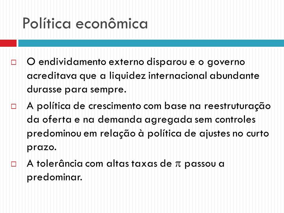 Política econômica O endividamento externo disparou e o governo acreditava que a liquidez internacional abundante durasse para sempre. A política de c