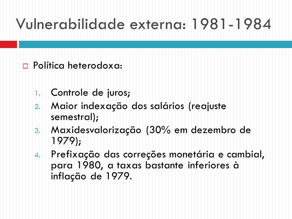 Vulnerabilidade externa: 1981-1984 Política heterodoxa: 1. Controle de juros; 2. Maior indexação dos salários (reajuste semestral); 3. Maxidesvaloriza