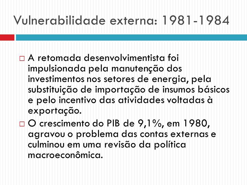 Vulnerabilidade externa: 1981-1984 A retomada desenvolvimentista foi impulsionada pela manutenção dos investimentos nos setores de energia, pela subst