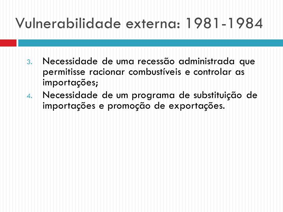 Vulnerabilidade externa: 1981-1984 3. Necessidade de uma recessão administrada que permitisse racionar combustíveis e controlar as importações; 4. Nec