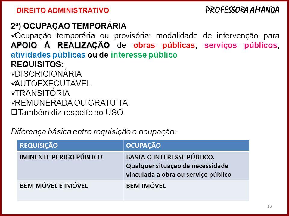 18 2º) OCUPAÇÃO TEMPORÁRIA APOIO À REALIZAÇÃO Ocupação temporária ou provisória: modalidade de intervenção para APOIO À REALIZAÇÃO de obras públicas,