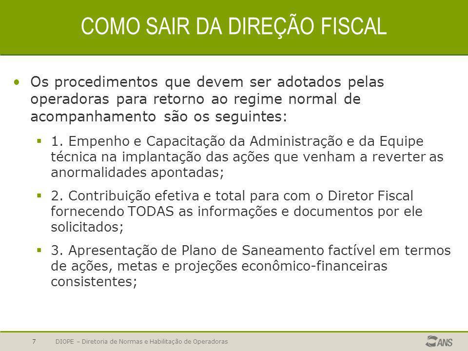 DIOPE – Diretoria de Normas e Habilitação de Operadoras8 COMO SAIR DA DIREÇÃO FISCAL 4.