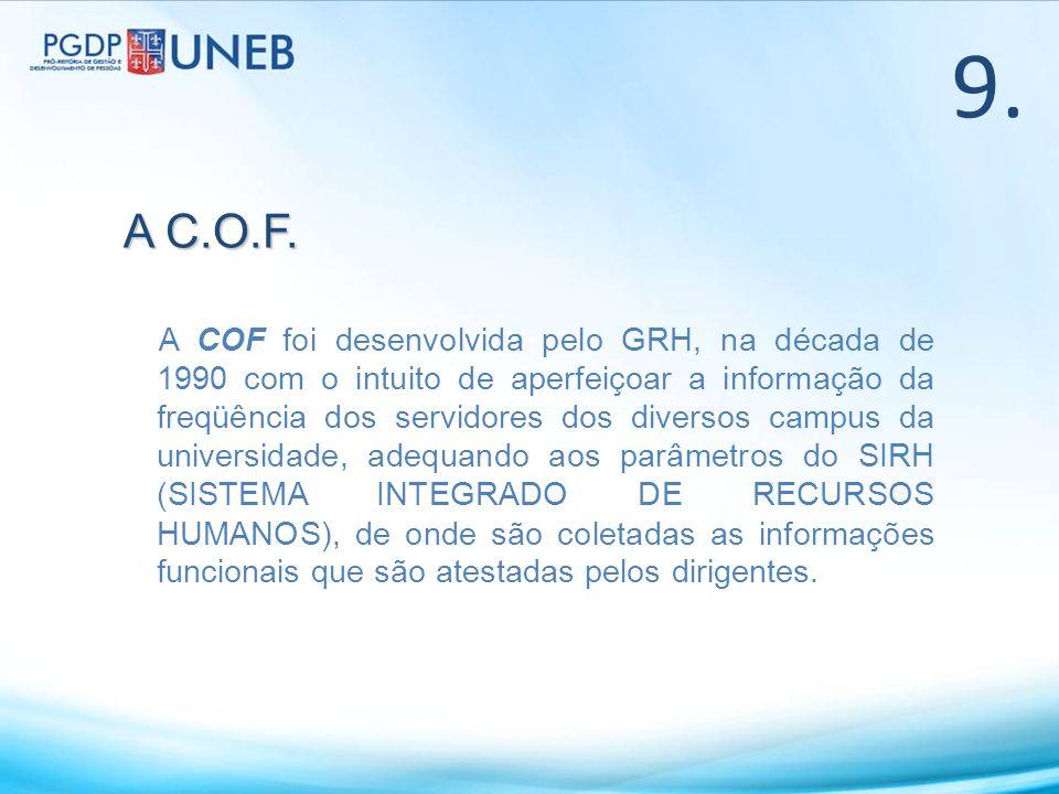 9. A COF foi desenvolvida pelo GRH, na década de 1990 com o intuito de aperfeiçoar a informação da freqüência dos servidores dos diversos campus da un