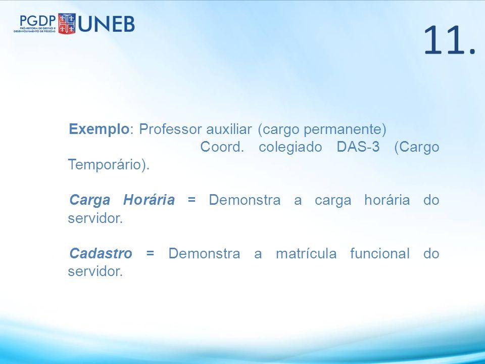 Exemplo: Professor auxiliar (cargo permanente) Coord. colegiado DAS-3 (Cargo Temporário). Carga Horária = Demonstra a carga horária do servidor. Cadas
