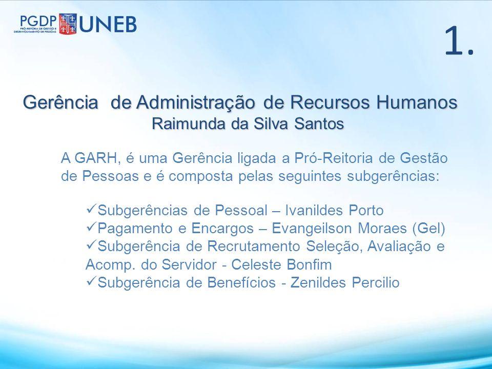 Gerência de Administração de Recursos Humanos Raimunda da Silva Santos 1. A GARH, é uma Gerência ligada a Pró-Reitoria de Gestão de Pessoas e é compos