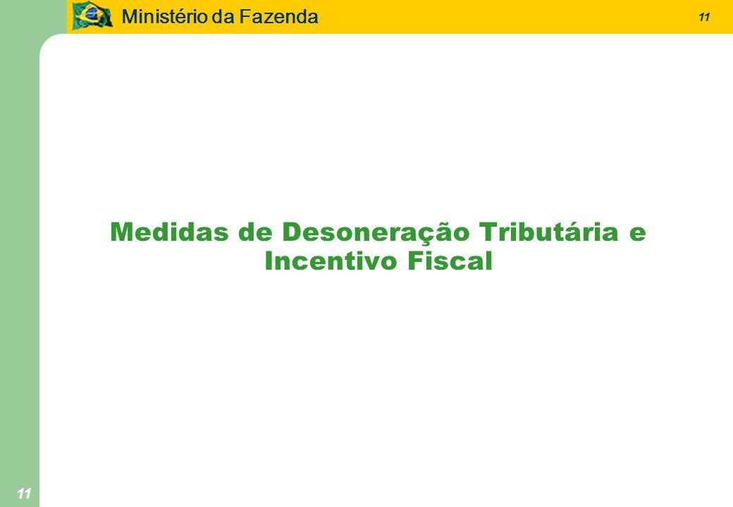 Ministério da Fazenda 11 Medidas de Desoneração Tributária e Incentivo Fiscal
