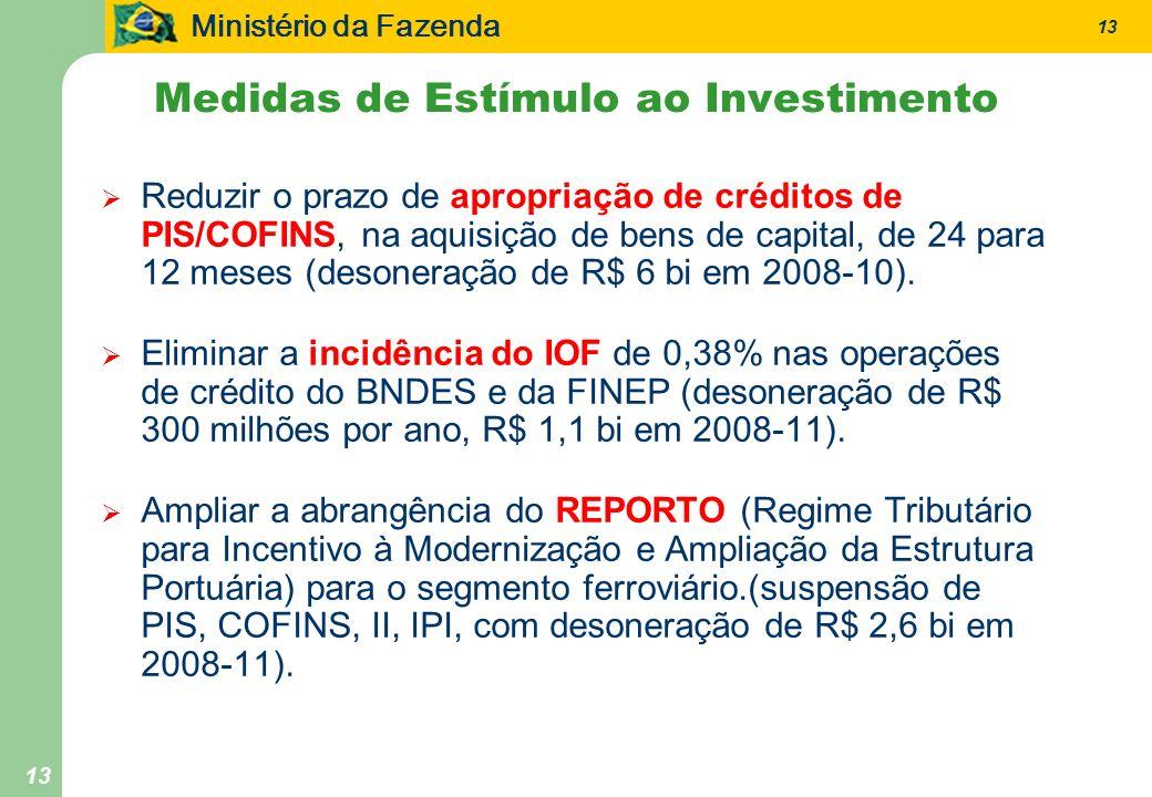 Ministério da Fazenda 13 Reduzir o prazo de apropriação de créditos de PIS/COFINS, na aquisição de bens de capital, de 24 para 12 meses (desoneração d