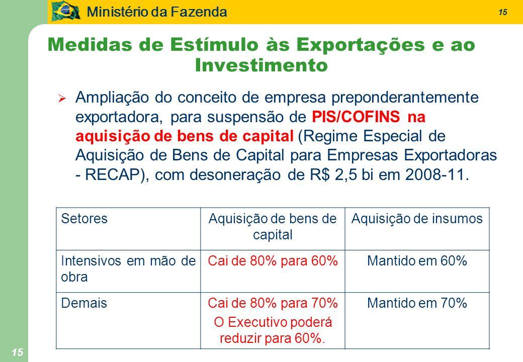 Ministério da Fazenda 15 Medidas de Estímulo às Exportações e ao Investimento Ampliação do conceito de empresa preponderantemente exportadora, para suspensão de PIS/COFINS na aquisição de bens de capital (Regime Especial de Aquisição de Bens de Capital para Empresas Exportadoras - RECAP), com desoneração de R$ 2,5 bi em 2008-11.