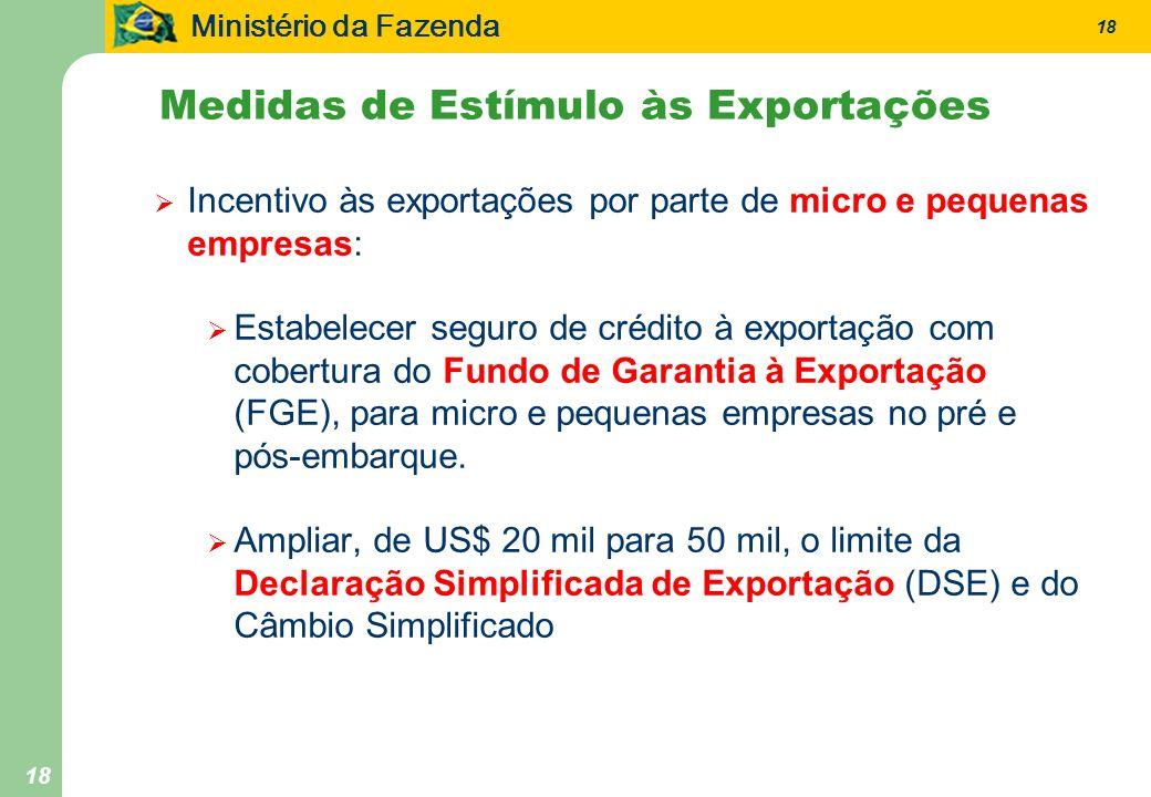 Ministério da Fazenda 18 Medidas de Estímulo às Exportações Incentivo às exportações por parte de micro e pequenas empresas: Estabelecer seguro de cré