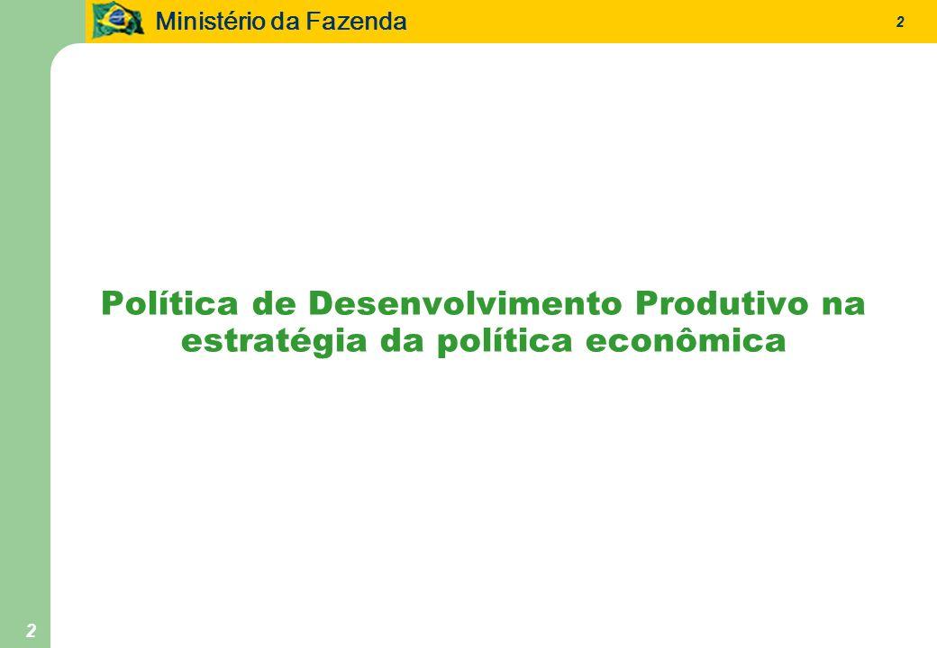 Ministério da Fazenda 2 2 Política de Desenvolvimento Produtivo na estratégia da política econômica