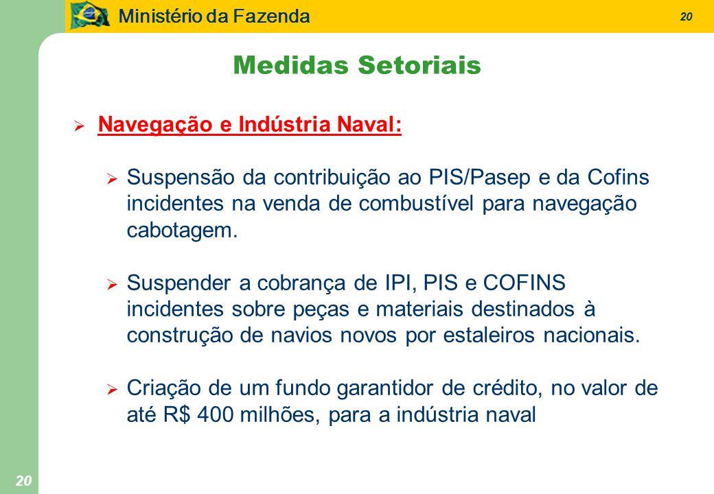 Ministério da Fazenda 20 Navegação e Indústria Naval: Suspensão da contribuição ao PIS/Pasep e da Cofins incidentes na venda de combustível para navegação cabotagem.