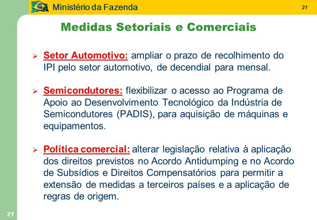 Ministério da Fazenda 21 Setor Automotivo: ampliar o prazo de recolhimento do IPI pelo setor automotivo, de decendial para mensal. Semicondutores: fle