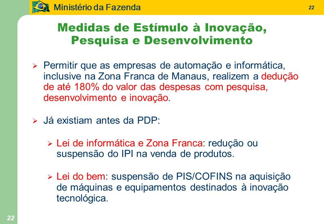 Ministério da Fazenda 22 Permitir que as empresas de automação e informática, inclusive na Zona Franca de Manaus, realizem a dedução de até 180% do valor das despesas com pesquisa, desenvolvimento e inovação.