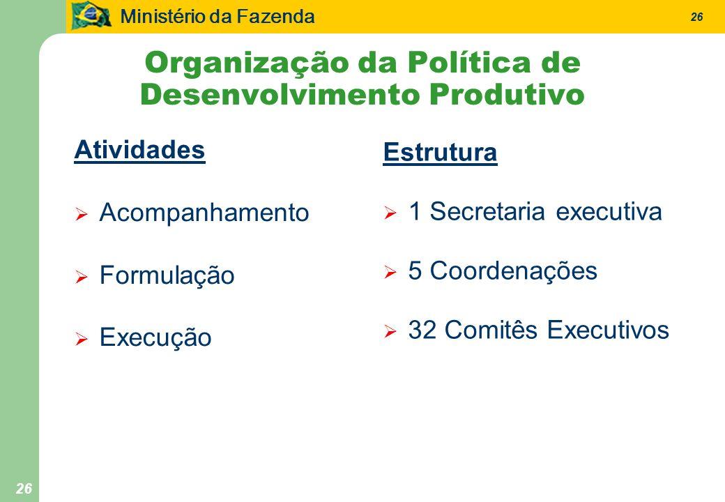 Ministério da Fazenda 26 Organização da Política de Desenvolvimento Produtivo Atividades Acompanhamento Formulação Execução Estrutura 1 Secretaria executiva 5 Coordenações 32 Comitês Executivos
