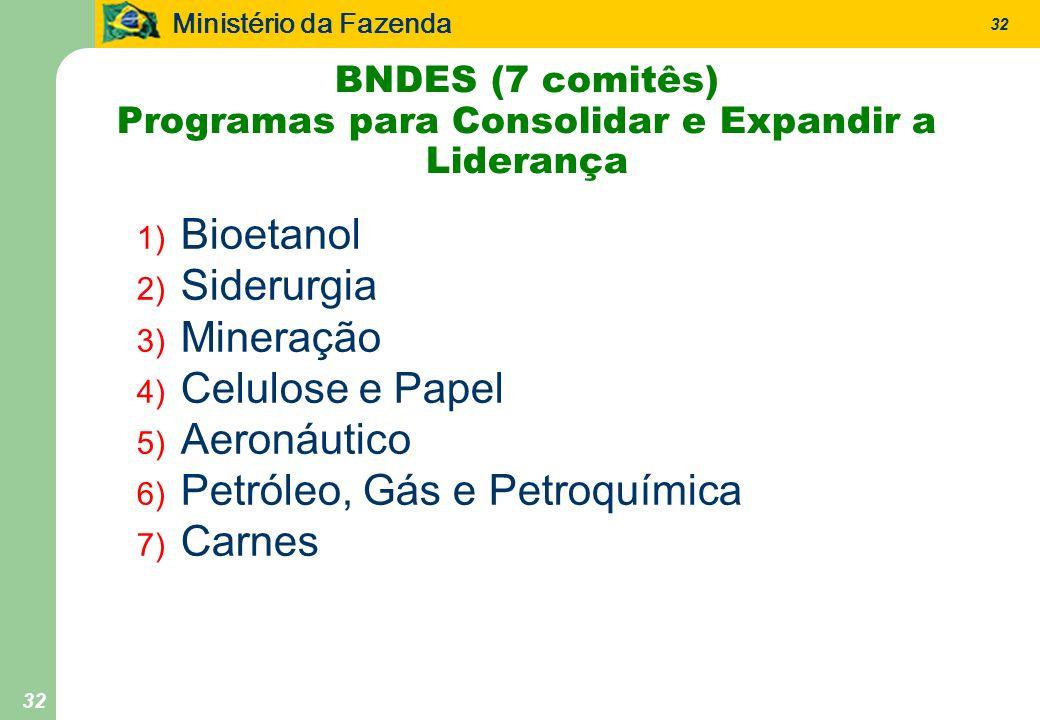 Ministério da Fazenda 32 BNDES (7 comitês) Programas para Consolidar e Expandir a Liderança 1) Bioetanol 2) Siderurgia 3) Mineração 4) Celulose e Papel 5) Aeronáutico 6) Petróleo, Gás e Petroquímica 7) Carnes