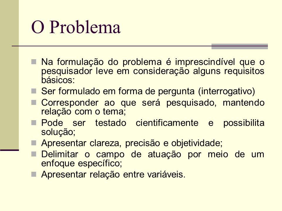 Na formulação do problema é imprescindível que o pesquisador leve em consideração alguns requisitos básicos: Ser formulado em forma de pergunta (inter