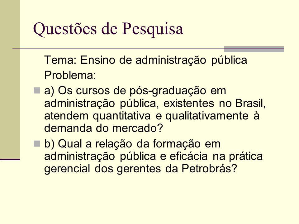 Tema: Ensino de administração pública Problema: a) Os cursos de pós-graduação em administração pública, existentes no Brasil, atendem quantitativa e q