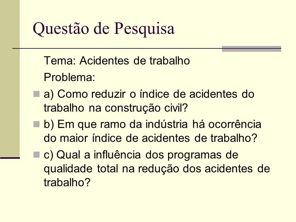 Tema: Acidentes de trabalho Problema: a) Como reduzir o índice de acidentes do trabalho na construção civil? b) Em que ramo da indústria há ocorrência