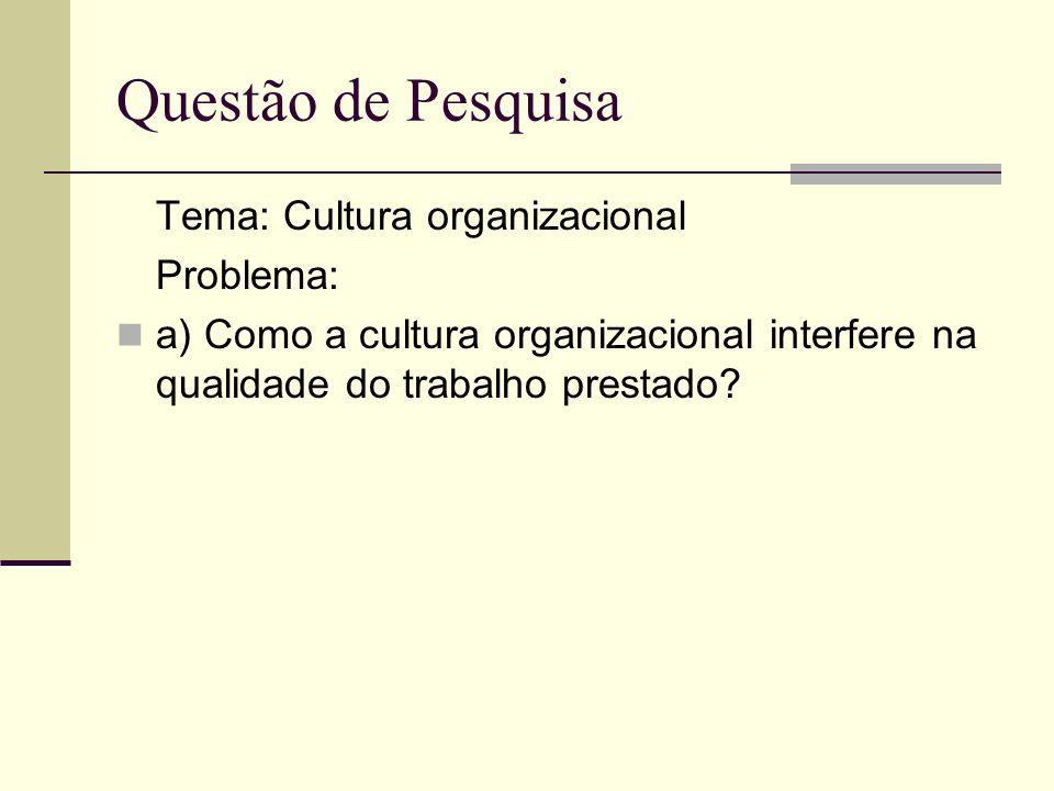 Tema: Cultura organizacional Problema: a) Como a cultura organizacional interfere na qualidade do trabalho prestado? Questão de Pesquisa