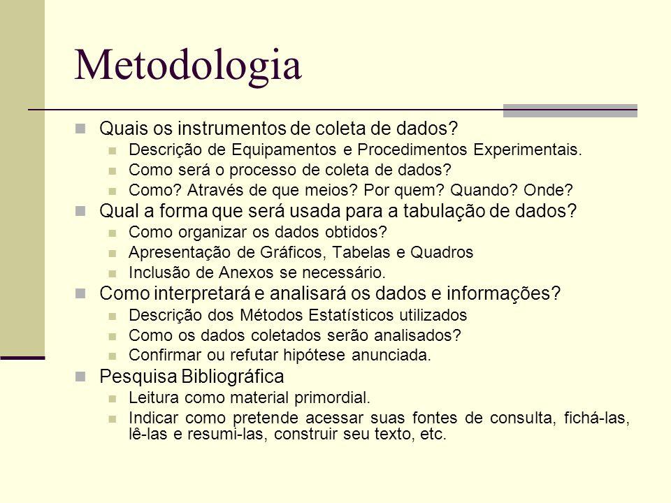 Metodologia Quais os instrumentos de coleta de dados? Descrição de Equipamentos e Procedimentos Experimentais. Como será o processo de coleta de dados