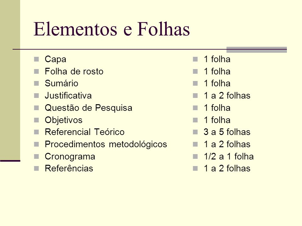 Elementos e Folhas Capa Folha de rosto Sumário Justificativa Questão de Pesquisa Objetivos Referencial Teórico Procedimentos metodológicos Cronograma