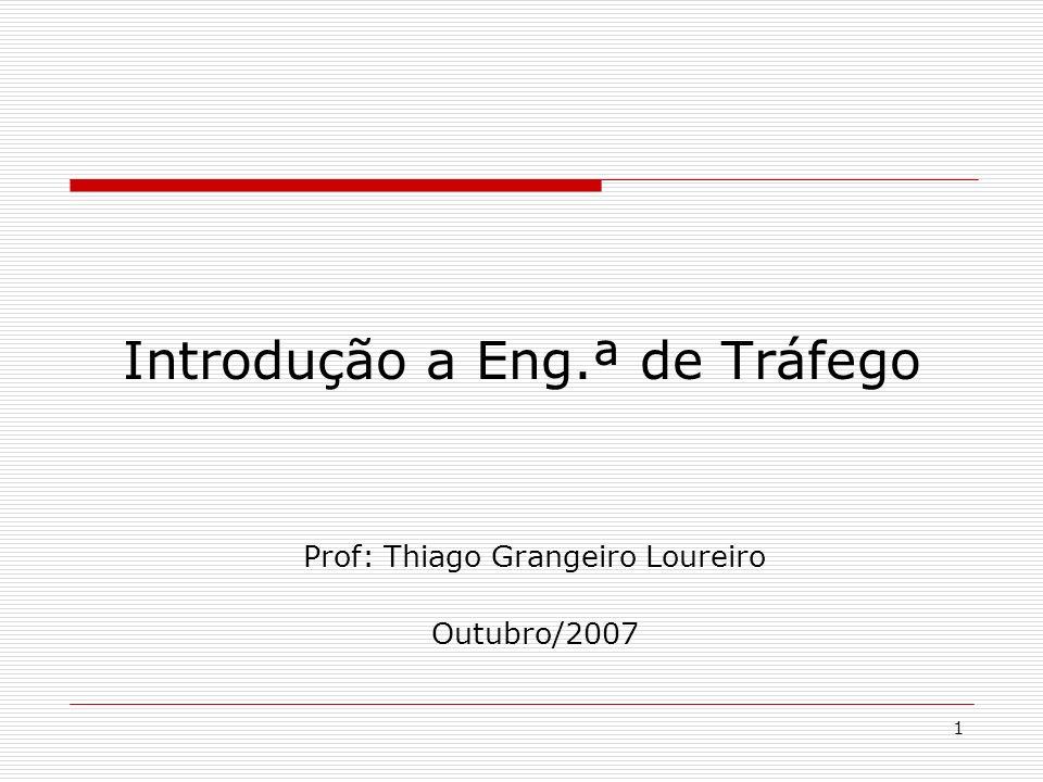 1 Introdução a Eng.ª de Tráfego Prof: Thiago Grangeiro Loureiro Outubro/2007