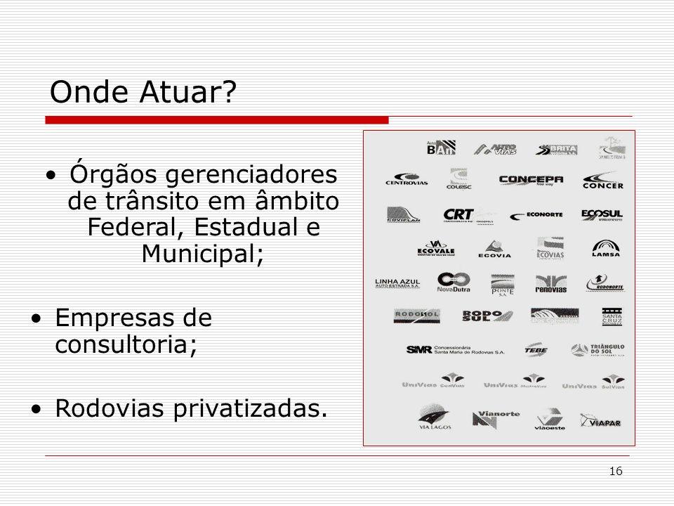 16 Onde Atuar? Órgãos gerenciadores de trânsito em âmbito Federal, Estadual e Municipal; Empresas de consultoria; Rodovias privatizadas.