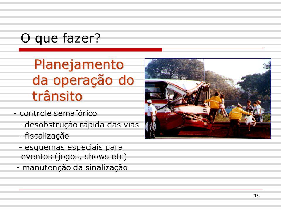 19 O que fazer? Planejamento da operação do trânsito Planejamento da operação do trânsito - - controle semafórico - desobstrução rápida das vias - fis