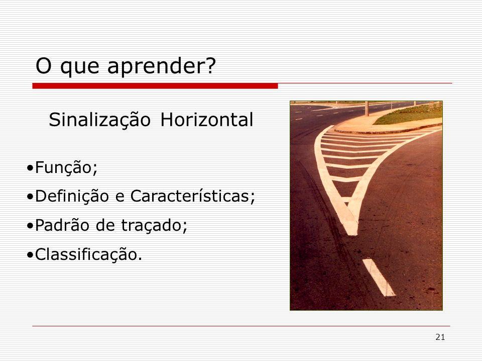 21 O que aprender? Sinalização Horizontal Função; Definição e Características; Padrão de traçado; Classificação.
