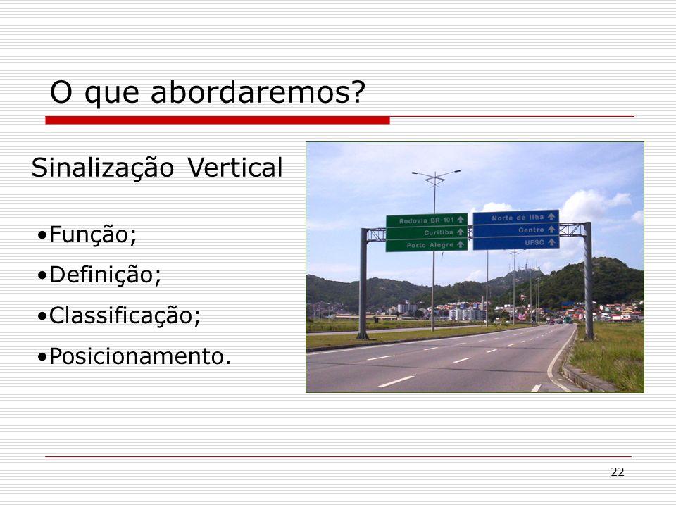 22 O que abordaremos? Sinalização Vertical Função; Definição; Classificação; Posicionamento.