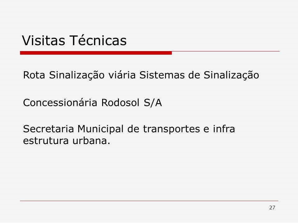 27 Visitas Técnicas Concessionária Rodosol S/A Rota Sinalização viária Sistemas de Sinalização Secretaria Municipal de transportes e infra estrutura u