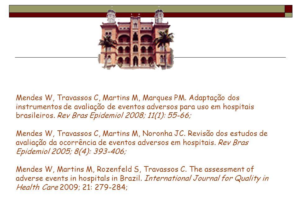 Mendes W, Travassos C, Martins M, Marques PM. Adaptação dos instrumentos de avaliação de eventos adversos para uso em hospitais brasileiros. Rev Bras