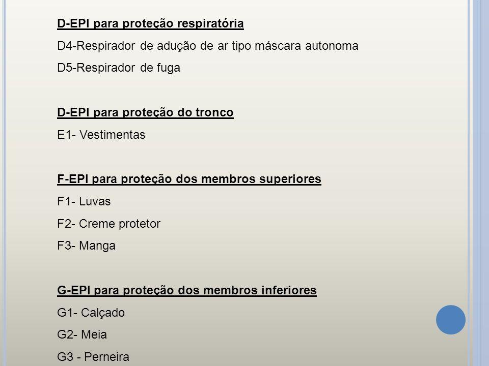 D-EPI para proteção respiratória D4-Respirador de adução de ar tipo máscara autonoma D5-Respirador de fuga D-EPI para proteção do tronco E1- Vestiment