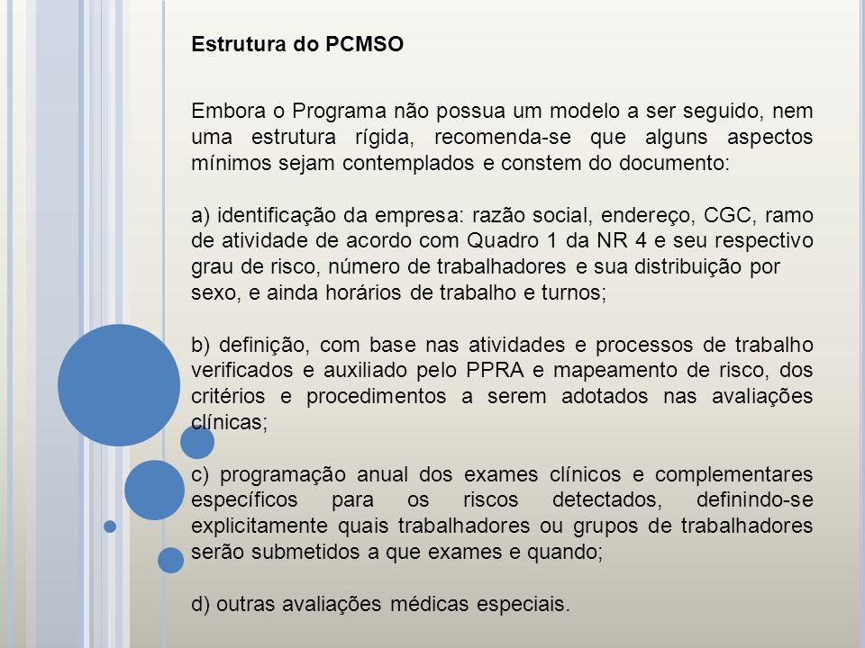 Estrutura do PCMSO Embora o Programa não possua um modelo a ser seguido, nem uma estrutura rígida, recomenda-se que alguns aspectos mínimos sejam cont