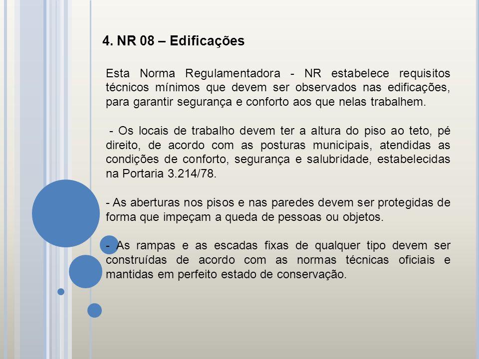 4. NR 08 – Edificações Esta Norma Regulamentadora - NR estabelece requisitos técnicos mínimos que devem ser observados nas edificações, para garantir