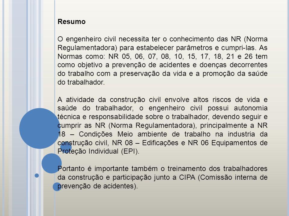 Resumo O engenheiro civil necessita ter o conhecimento das NR (Norma Regulamentadora) para estabelecer parâmetros e cumpri-las. As Normas como: NR 05,