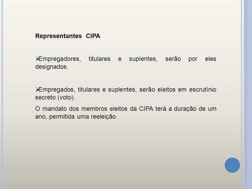 Representantes CIPA Empregadores, titulares e suplentes, serão por eles designados. Empregados, titulares e suplentes, serão eleitos em escrutínio sec