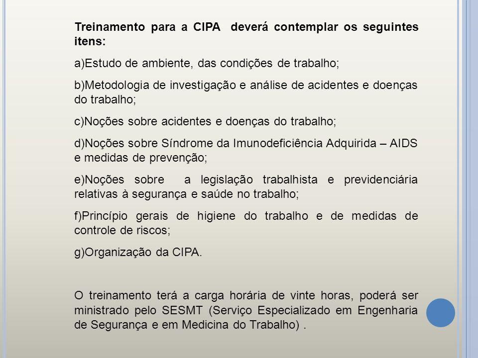Treinamento para a CIPA deverá contemplar os seguintes itens: a)Estudo de ambiente, das condições de trabalho; b)Metodologia de investigação e análise
